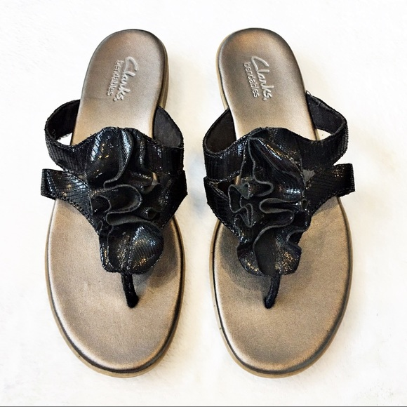 9f2c39d70 Clarks Shoes - Clarks Bendables Leather Ruffle Sandals Flip Flops